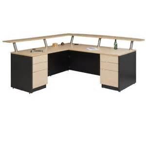 Double Corner Desk Reception Desk Double Pedestal Bow Top Transaction Shelf