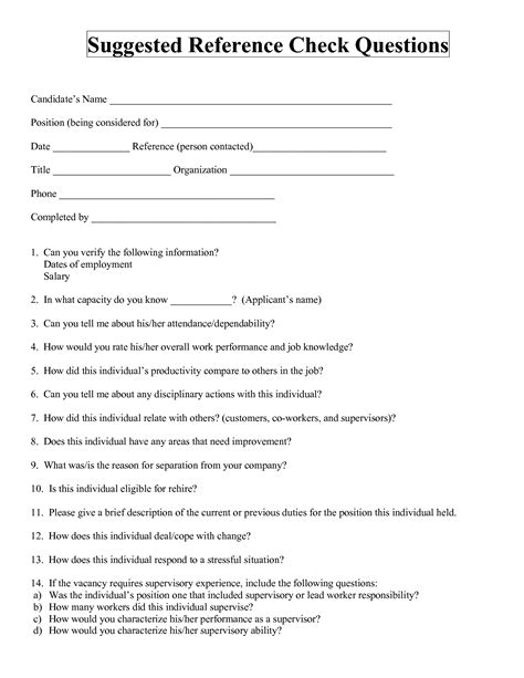 employment reference check form template best photos of employment verification questions