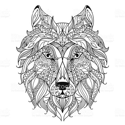 abstract wolf coloring pages wolf head zentangle stylized coloring page stock vector