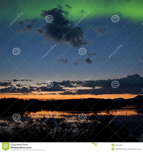 northern lights sun l midnight summer northern lights borealis stock