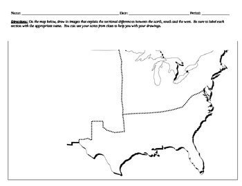 sectionalism map sectionalism map activity and reading by danielle keane tpt
