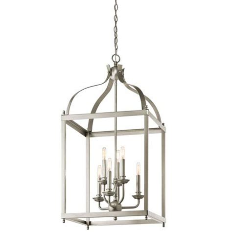 Lantern Pendant Lights Kichler Larkin Brushed Nickel Six Light Cage Foyer Pendant On Sale