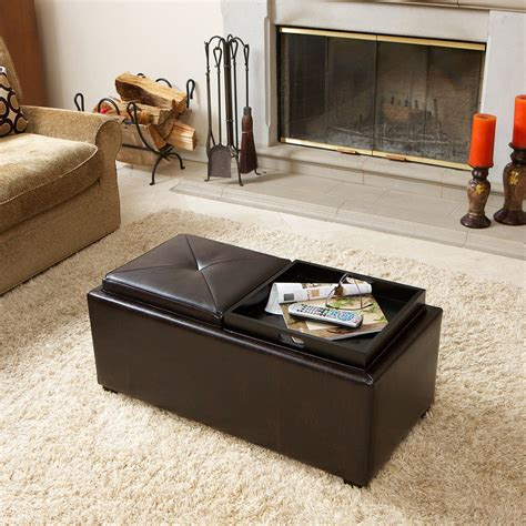 Brown Leather Ottoman Coffee Table With Storage 2 Tray Top Brown Leather Storage Ottoman Coffee Table Ebay