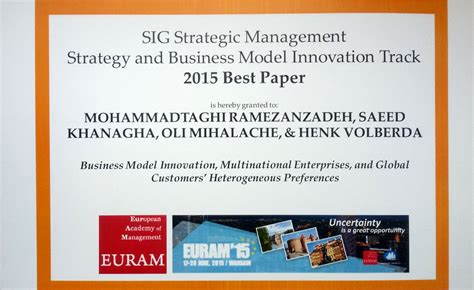 Strategy And Innovation Mba by Rsm Business Model Innovation Research Wins Award In