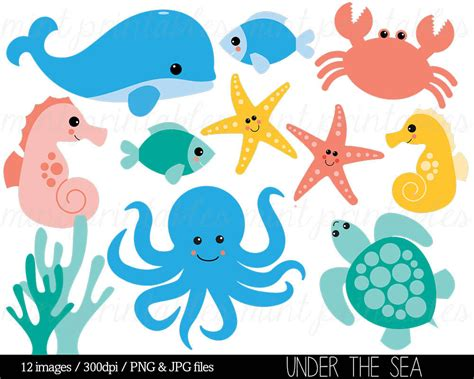 templates for under the sea creatures sea animal clipart under the sea baby sea creatures clip