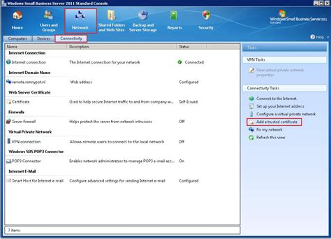 windows sbs console small business server 2011 for creating a csr