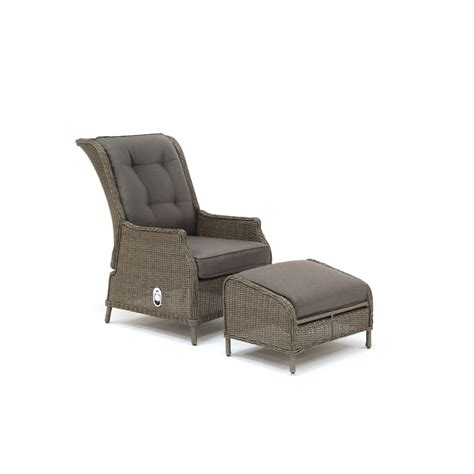kettler jarvis recliner with footstool rattan inc taupe