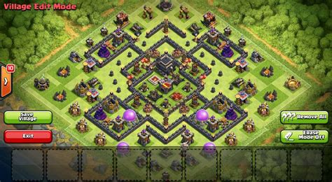 coc layout anti golem th9 base war