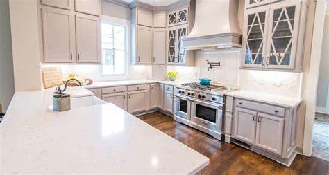 Herringbone Kitchen Backsplash by Kitchen Room Scene Cashmere Carrara Quartz Countertop