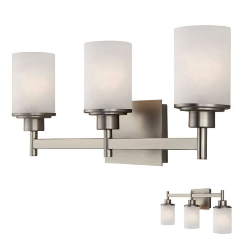 3 Fixture Bathroom Brushed Nickel 3 Globe Vanity Bath Light Bar Fixture With Etched Glass Ebay