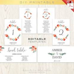 Editable Seating Chart Template by Wedding Table Numbers Number Printables Seating Chart