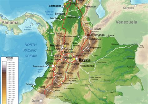 physical map of colombia geography and environment colombia