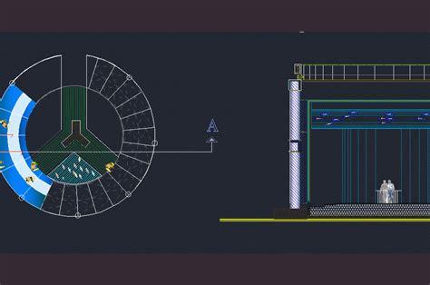 small aquarium   circular structure  dwg design