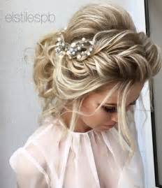 bridal hairstyles elstile braided messy bridal hairstyle deer pearl flowers