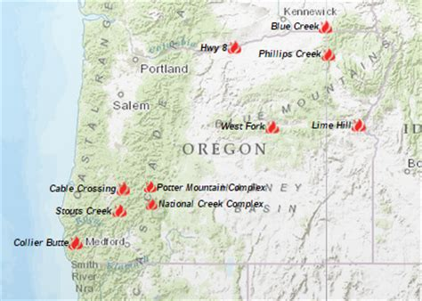 map of oregon forest fires oregon smoke information 08 07 2015 status of fires and smoke
