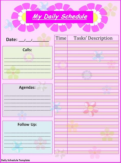 schedule templates for pages schedule templates free printable free daily schedule