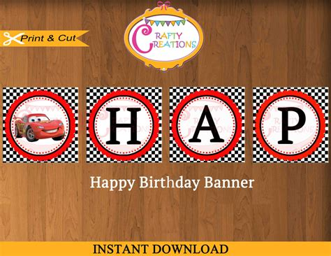 Laris Banner Flag Bunting Flag Custom Diy Do It Yourself disney cars birthday banner disney banner decoration