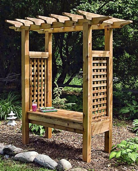 arbor with bench seat arbor bench plans woodarchivist