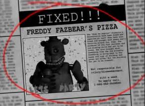 This is what the newspaper for fnaf 3 looks like