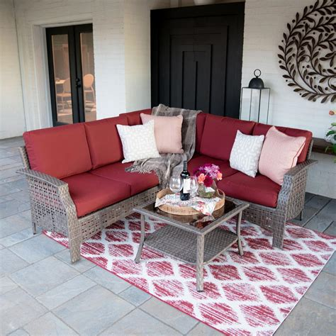 leisure  concord  piece wicker outdoor sectional set