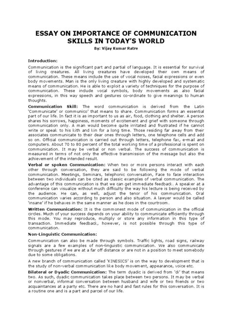 Essay About Skills by Essay On Importance Of Communication Skills In Today S World Conversation