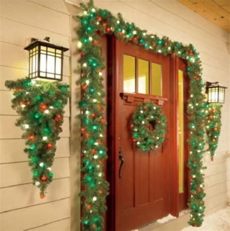 outside garland cordless outdoor pre lit wreath swag garland greenery decor
