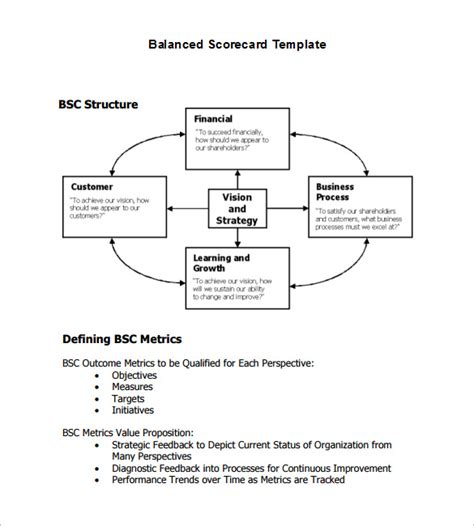 balanced scorecard template balanced scorecard template 13 free word excel pdf