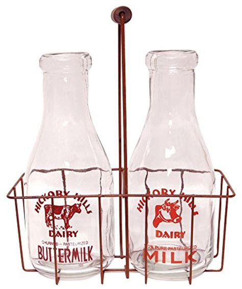 cwi gifts large vintage milk bottles with carrier 12 quot x 9