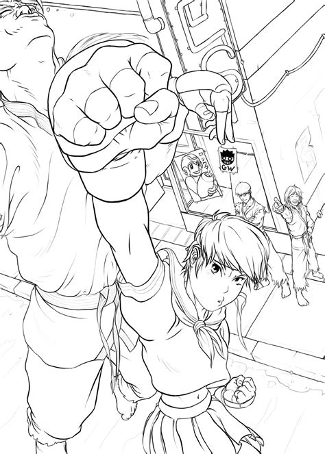ryu ken free coloring pages