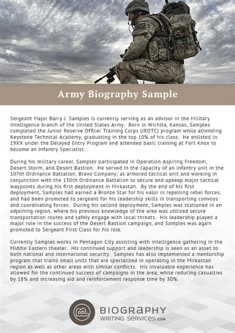 army biography format writing