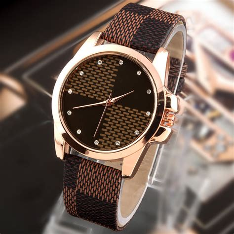 new fashion brand grid leather quartz