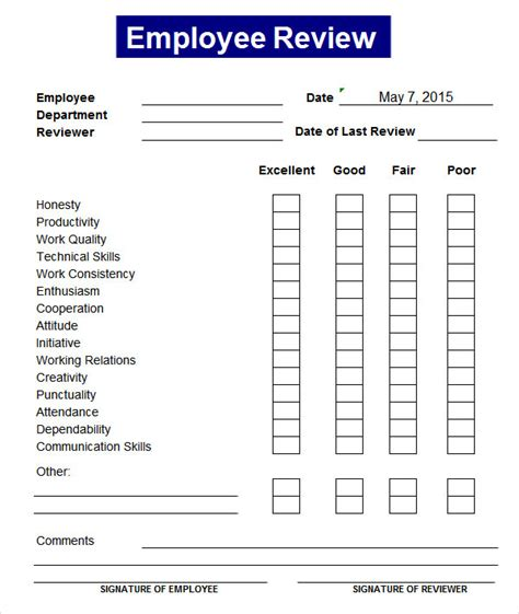 Staff Review Form Template by Sle Employee Review Template 7 Free Documents