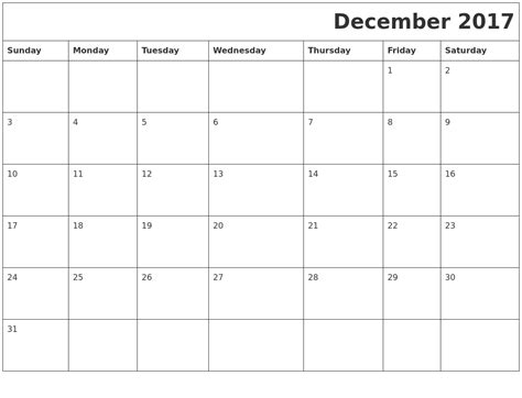 Calendar December 2017 Word Template December 2017 Printable Calendar Template Holidays Excel