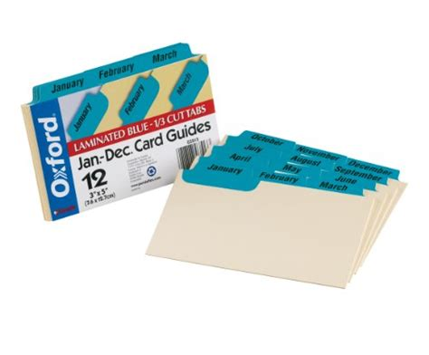 Oxford Index Card Tab Template by Oxford Index Card Guides With Laminated Tabs Monthly