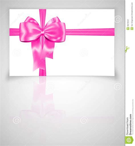 Gift Card With Pink Ribbon Stock Image   Image: 36578441