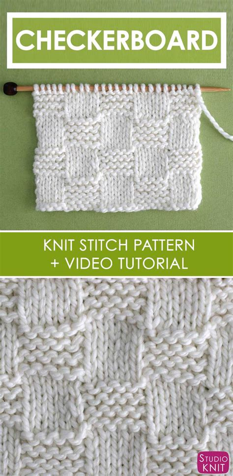 knitting pattern video tutorial how to knit the garter checkerboard stitch pattern with