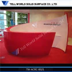 Show Home Interior Design Ideas by Red Round Artificial Stone Reception Counter Manmade Stone