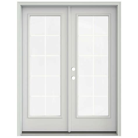 60 Patio Door Jeld Wen 60 In X 80 In Primed Prehung Right Inswing 10 Lite Patio Door With