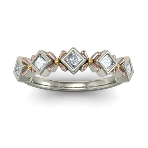 unique half carat princess cut wedding ring band