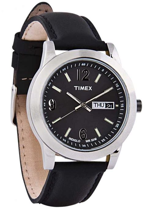 timex gent s black leather 50m water resistant