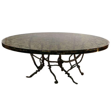Resin Dining Tables Resin Dining Table With Vined Forged Base At 1stdibs