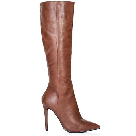 knee high boots heeled buy heeled pointed toe knee high boots brown leather