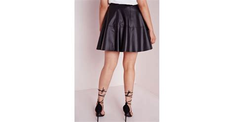 missguided plus size faux leather skater skirt black in