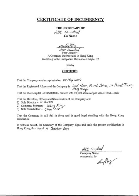 certificate of incumbency template certificate of incumbency uk template images certificate