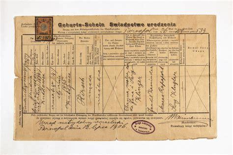Galicia Ukraine Birth Records Birth Certificate Of Hirsch Korner Tarnopol Galicia Today Ternopil Ukraine 1906