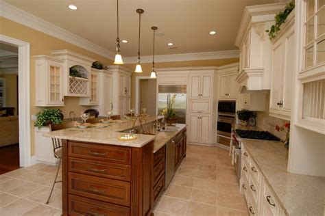 Painting Cherry Cabinets Antique White by Antique White Cabinets Warm Brown Island Yellow Walls