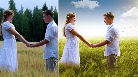 wedding couple outdoor  editing  photoshop