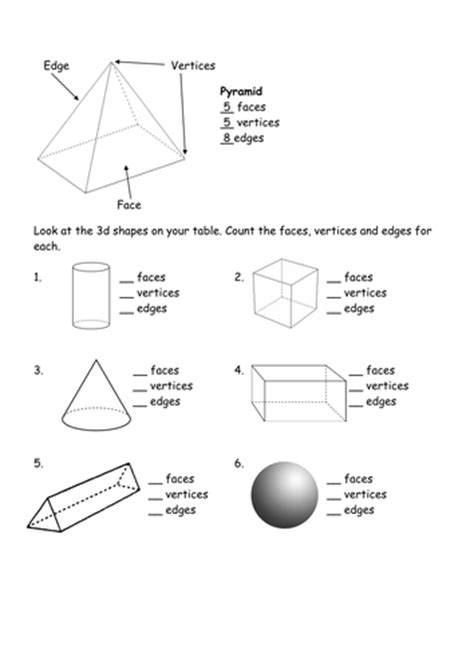 printable math worksheets faces edges and vertices count the faces edges vertices 3d shape by l e1984