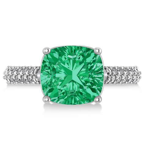 cushion cut emerald engagement ring 18k white