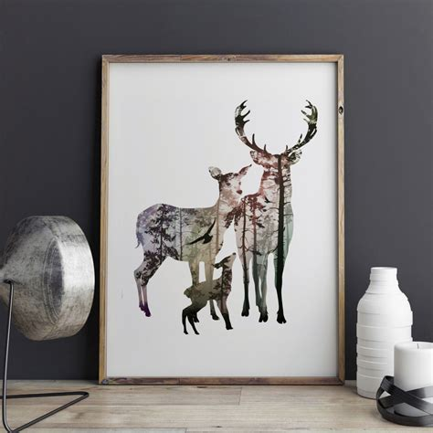 silhouette home decor silhouette of deer family with pine forest fine art paper
